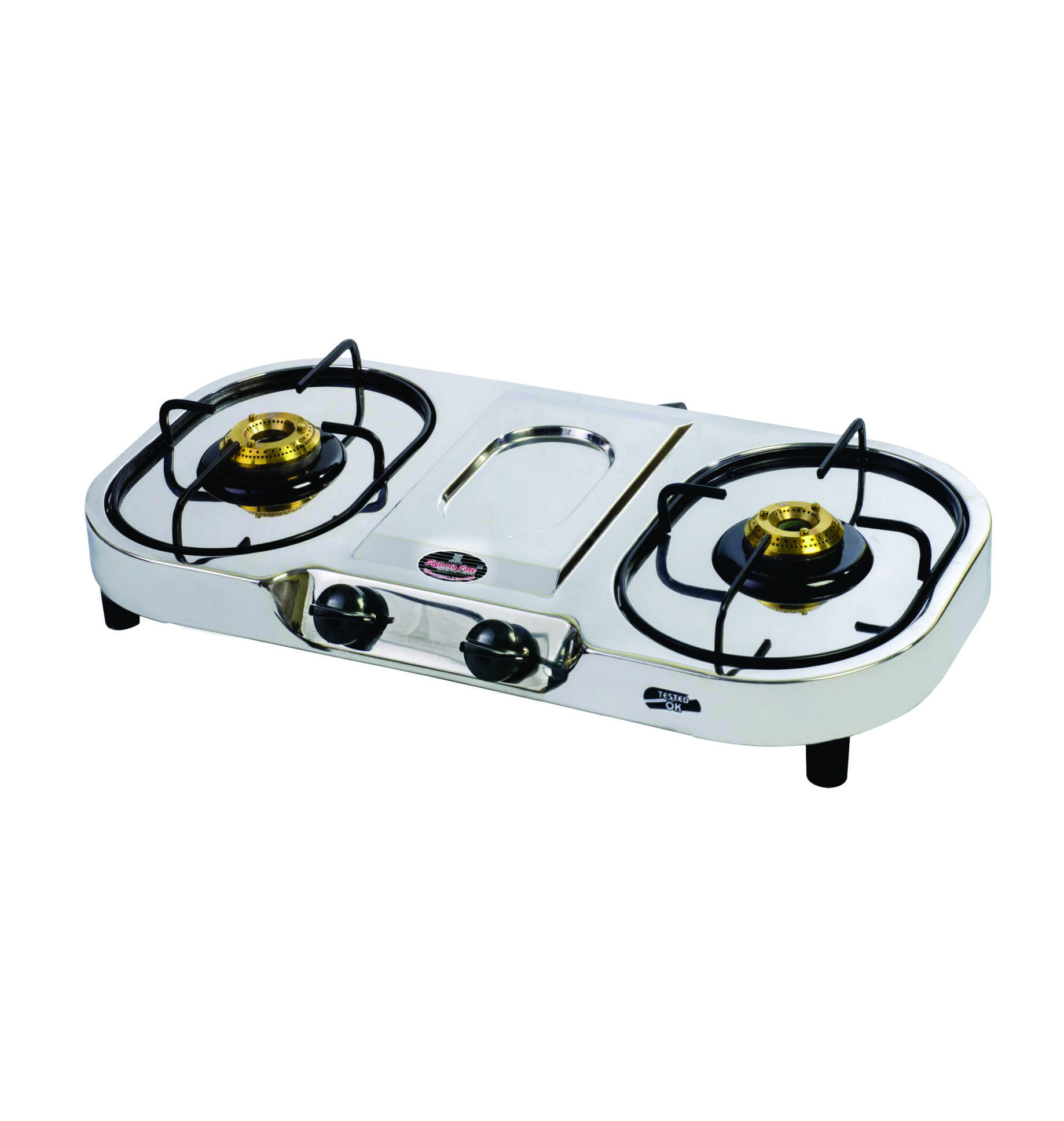signoracare stainless steel 2 burner gas stove isi mark