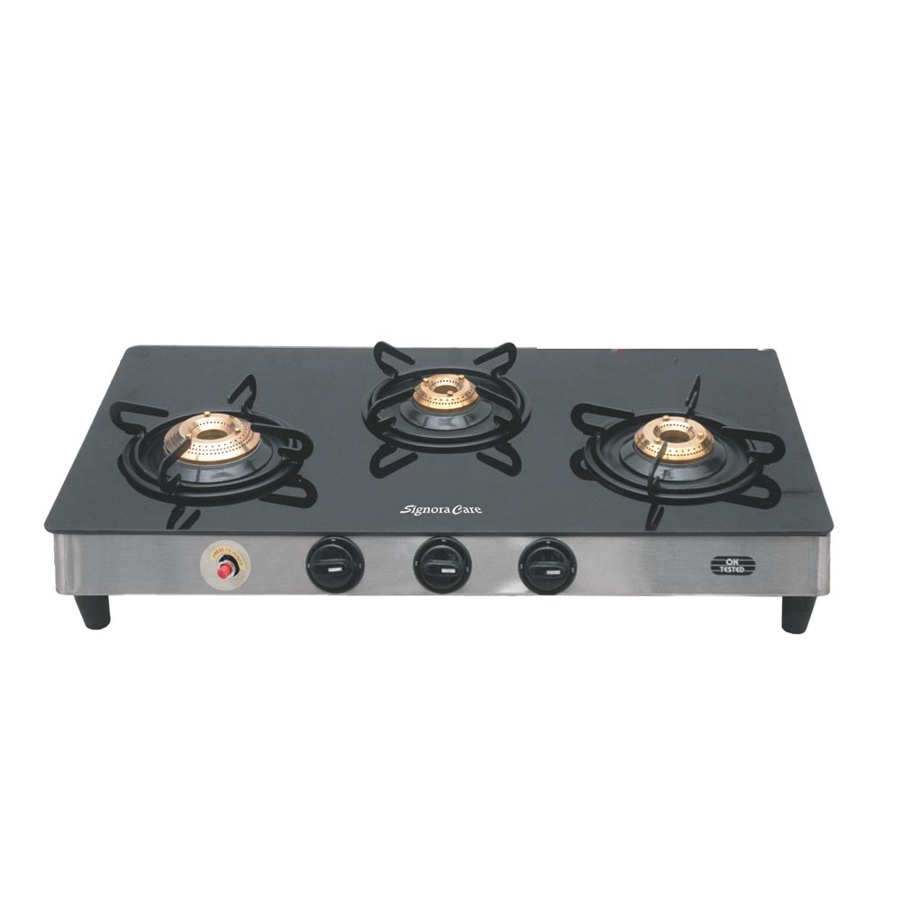 SignoraCare 7 mm(plus) 3 Burner Glass top with Auto Ignition