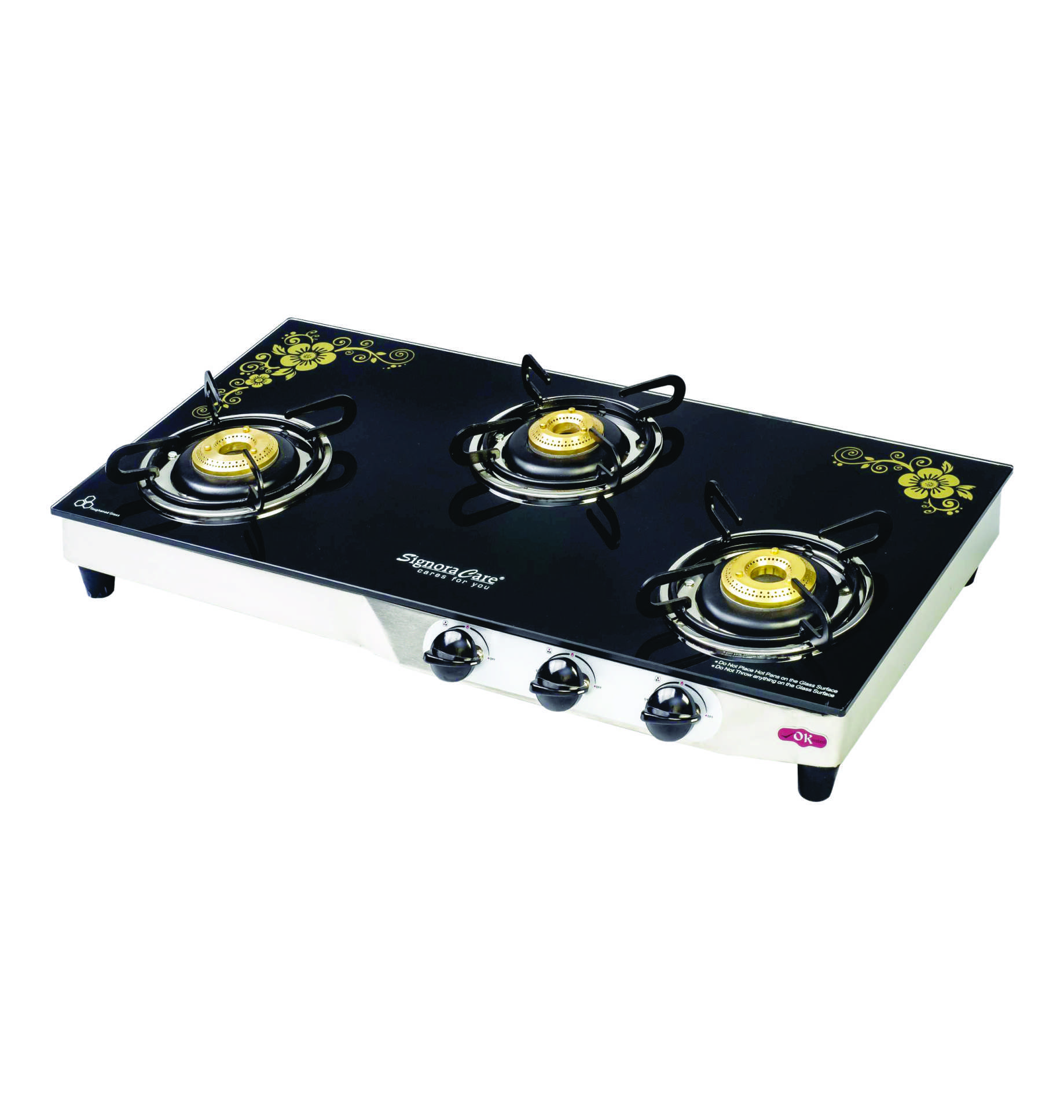 SignoraCare 7 mm(plus) Three Burner Glass top